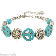 HX Womens Fashion Silver Bohemian Alloy Bracelet With Turquoise Beads 20cm