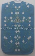 Marian Blue Roman Chasuble Fiddleback Vestment & 5pc mass set AM embroidery