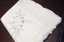 Floral pale pink cluster flowers tablecloth FANCO DAMASK, 72x126  OFF WHITE[13]