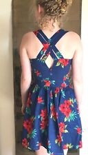 ASOS floral pinup retro cotton summer dress red blue cross back strap