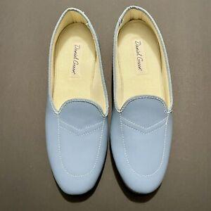 Daniel Green Women's 'Meg' Split Leather Flat Casual Shoes 7.5 M Light Blue