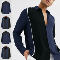 Mens Long Sleeve Casual Smart Dress Shirts Male Business Work Blouse Tops Tee CA