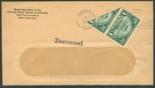"""1925, 1¢ (#614var) Huguenot Walloon """"Bisect"""" pair tied on cover w/ """"Deceased"""" mk"""