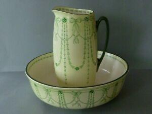 Antique Vintage Royal Doulton Art Nouveau Green Wash Bowl & Water Jug c1902-1922