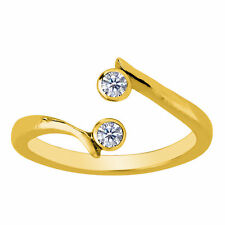 W/Diamond ByPass Style Adjustable Toe Ring 14K Yellow Gold Fn Double Solitaire