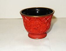 RARE VINTAGE CHINESE CARVED FLORAL MINIATURE CINNABAR LACQUER BOWL