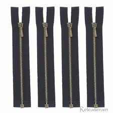 """4"""" Bronze Brass Black Open-End #0 Teeth Doll Clothes Jacket Sewing Zippers 4pcs"""