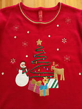 UGLY Christmas Sweater - Womens Plus XL - 3D Embellished Tree Reindeer Presents