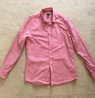 H&M Plaid Checker Mens Long Sleeve Slim Fit Shirt Size L