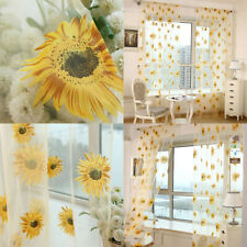 Window Curtain Decor Voile Sunflower Room Floral Tulle Kitchen Balcony Curtain