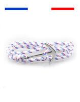 Bracelet ancre marine mixte homme femme Argent Bleu encre cordon rose marin