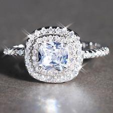 Ladies Lab Diamond Princess Cut White Gold Filled Wedding Engagement Halo Ring