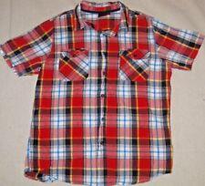 Ruxton Dress Shirts Plaid Red White Blue Button Down Short Sleeve Boys Size M