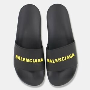 Balenciaga Black and Yellow Pool Slides | Size EU 44, UK 10, US 11 RRP $325