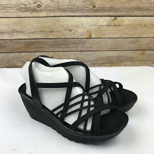 Skechers Womens Multi Gore Sling Back Wedge Sandals Criss Cross Straps Black 6M