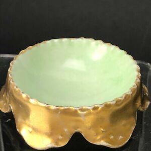 Antique Haviland France Porcelain Open Salt Cellar Dip Vintage Gold Green BEAUTY