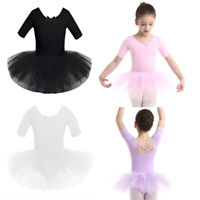 Girls Short Sleeves Ballet Dance Leotard Tutu Dress Ballerina Costume Dancewear