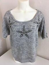 ZARA TRAFALUC Grey Star Studded Top Tee T-Shirt Size Medium  New With Tags