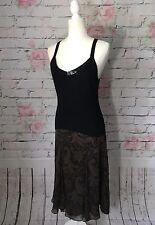 Ralph Lauren Brown Black Paisley Print 100% Silk Flowy Flare Skirt Sz 16W *Flaw