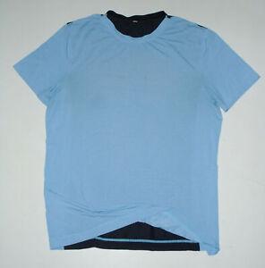 LULULEMON Athletic s/s T-Shirt METAL VENT TECH Sky Blue & Navy Yoga Run Mens LG