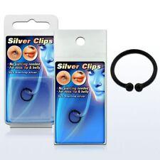 925 Silber Fake Test Piercing Schwarz Ring Nase Klemmring Lippen Intim Ø 10mm
