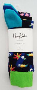 Three Pair Pack, Happy Socks, Jungle Animal Themed, Men's, Size 7.5 -11.5 UK New