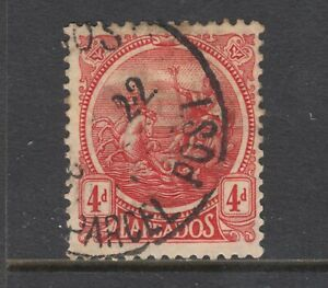 Barbados Sc 163 used. 1921 4p red on yellow Seal of the Colony, sound, F-VF