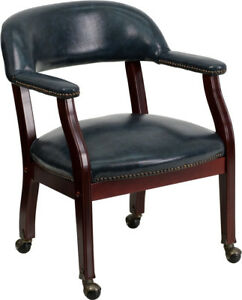Navy Vinyl Luxurious Conference Chair with Casters - B-Z100-NAVY-GG
