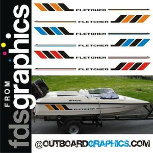 Pair of Fletcher speedboat hull decals - custom colours available FREE DELIVERY