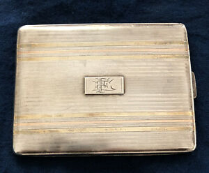 Vintage Art Deco Sterling Silver Cigarette Card Case W/ Rose ,Yellow Gold Inlaid