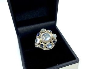 Antique Austro Hungarian Silver Moonstone & Sapphire Cluster Ring  - Size N