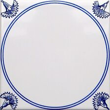""""""" Delfter Delft Art Dekor """"  15x15cm  Ornament Fliesen Niederlande blau/ weiß"""