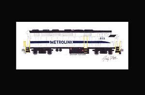 "Metrolink F59PH #859 11""x17"" Matted Print Andy Fletcher signed"