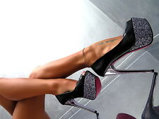 Unique Schwarz Plateau 2017 Fashion Damen Sexy High Heels M54 Pumps Schuhe 36