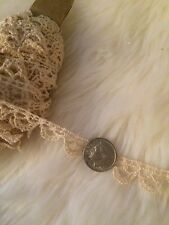 Antique Lace Chemical Dainty Salvage Small Dolls Flounce Costume Prim 7 Yards