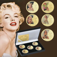 WR America Superstar Marilyn Monroe Commemorative Coins Set 5pcs Nice Gift Box
