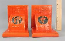 1950s Vintage Eli Lilly Company Pharmaceutical Insulin Art Pottery Bookends