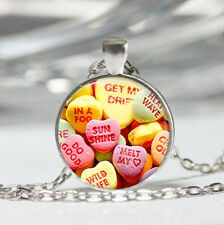 Valentines Candy Tibet silver dome Glass Cabochon Necklace chain Pendant #523