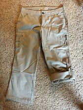 CABELAS Womens BEIGE Hiking Camping TAB Roll-Up Capri Pants EXCELLENT Sz 12 EXC