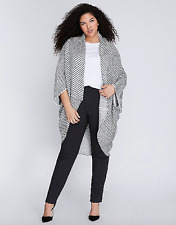 Lane Bryant Shimmer Striped Cocoon Wrap Cardigan Womens Plus ONE White/Gray