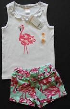 Toddler Girls Gymboree Outlet Cute Flamingo Top & Matching Shorts Size 4T/5T NWT