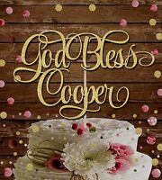 CHRISTENING GOLD GLITTER 'GOD BLESS NAME' BAPTISM  PARTY CAKE TOPPER DECORATION
