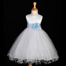 FLUFFY TULLE PRINCESS FLOWER GIRL DRESS CHILDREN BIRTHDAY PARTY WEDDING GOWN NEW