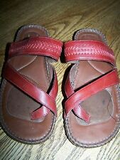 Women's NATURALIZER 6 Red Leather Flat Heel Sandal Slides Size 6M Ladies Youth 4