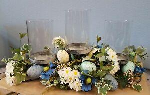 Pier 1 Blue Floral Egg Centerpiece Table Arrangement