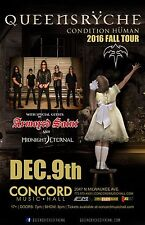 """Queensryche """"Condition Human 2016 Fall Tour"""" Chicago Concert Poster- Metal Music"""