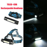Waterproof 200000 LM Headlamp Headlight T6 + COB LED Rechargeable Flashlight