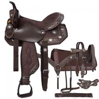 "16"" Western Brown Half Synthetic and Leather Saddle with 6 piece Tack Set"