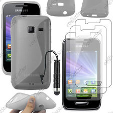 Housse Etui Coque Silicone Gris Samsung WAVE Y S5380 + Mini Stylet + 3 Films