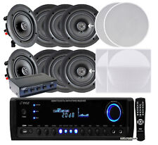 """NEW Pyle 4 PAIRS of 5.25"""" 150W In-Ceiling Speakers + 300W Receiver & Selector"""